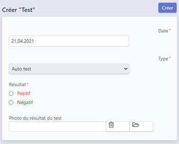 Formulaire d'enregistrement de son test